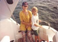 justin and celesta on boat